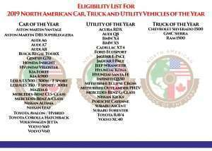 2019 Eligibility list for North American Car, Utility and Truck of the Year