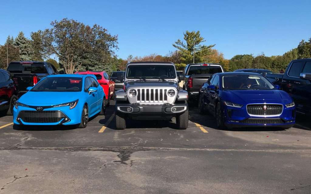 (l-r) Toyota Corolla hatchback, Jeep Wrangler, Jaguar I-Pace - The Corolla hatchback (a semi-finalist in the car category) looks ready to join the NACTOY Utility of the Year category.